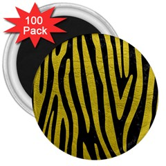 Skin4 Black Marble & Yellow Leather 3  Magnets (100 Pack) by trendistuff