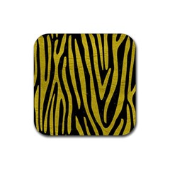 Skin4 Black Marble & Yellow Leather Rubber Coaster (square)  by trendistuff