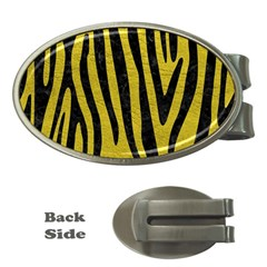 Skin4 Black Marble & Yellow Leather (r) Money Clips (oval)  by trendistuff
