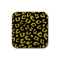 Skin5 Black Marble & Yellow Leather Rubber Coaster (square)  by trendistuff