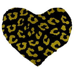 Skin5 Black Marble & Yellow Leather Large 19  Premium Heart Shape Cushions by trendistuff