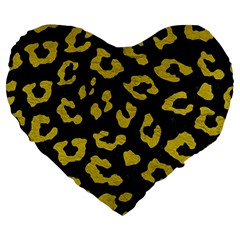 Skin5 Black Marble & Yellow Leather Large 19  Premium Flano Heart Shape Cushions by trendistuff