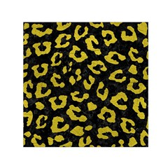 Skin5 Black Marble & Yellow Leather Small Satin Scarf (square) by trendistuff