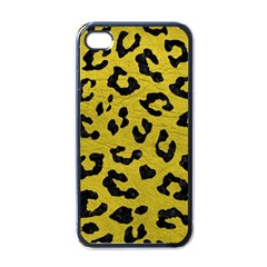 Skin5 Black Marble & Yellow Leather (r) Apple Iphone 4 Case (black) by trendistuff