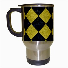 Square2 Black Marble & Yellow Leather Travel Mugs (white) by trendistuff