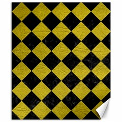 Square2 Black Marble & Yellow Leather Canvas 8  X 10  by trendistuff