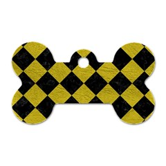 Square2 Black Marble & Yellow Leather Dog Tag Bone (two Sides)