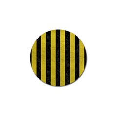Stripes1 Black Marble & Yellow Leather Golf Ball Marker (4 Pack)