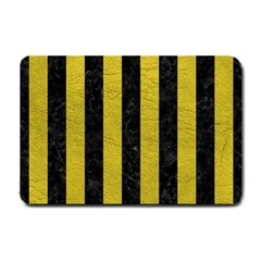Stripes1 Black Marble & Yellow Leather Small Doormat  by trendistuff