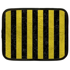Stripes1 Black Marble & Yellow Leather Netbook Case (xl)  by trendistuff