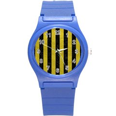 Stripes1 Black Marble & Yellow Leather Round Plastic Sport Watch (s) by trendistuff