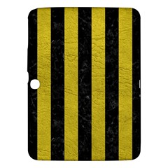 Stripes1 Black Marble & Yellow Leather Samsung Galaxy Tab 3 (10 1 ) P5200 Hardshell Case  by trendistuff