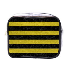 Stripes2 Black Marble & Yellow Leather Mini Toiletries Bags by trendistuff