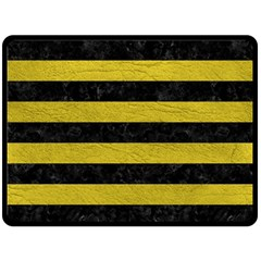 Stripes2 Black Marble & Yellow Leather Double Sided Fleece Blanket (large)  by trendistuff