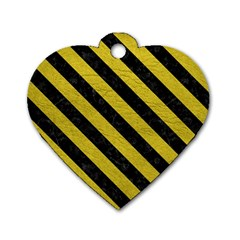 Stripes3 Black Marble & Yellow Leather Dog Tag Heart (one Side) by trendistuff