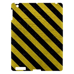 Stripes3 Black Marble & Yellow Leather Apple Ipad 3/4 Hardshell Case by trendistuff