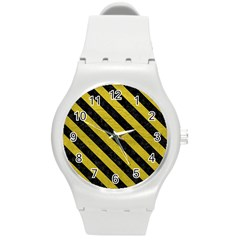 Stripes3 Black Marble & Yellow Leather Round Plastic Sport Watch (m) by trendistuff