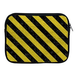 Stripes3 Black Marble & Yellow Leather Apple Ipad 2/3/4 Zipper Cases by trendistuff