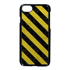 Stripes3 Black Marble & Yellow Leather Apple Iphone 7 Seamless Case (black) by trendistuff