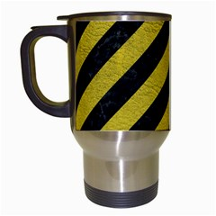 Stripes3 Black Marble & Yellow Leather (r) Travel Mugs (white) by trendistuff