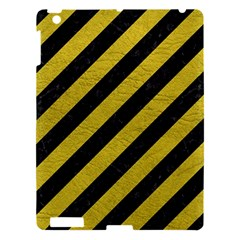 Stripes3 Black Marble & Yellow Leather (r) Apple Ipad 3/4 Hardshell Case by trendistuff