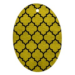 Tile1 Black Marble & Yellow Leather Oval Ornament (two Sides) by trendistuff