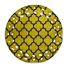 Tile1 Black Marble & Yellow Leather Ornament (round Filigree) by trendistuff