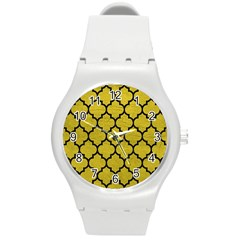 Tile1 Black Marble & Yellow Leather Round Plastic Sport Watch (m) by trendistuff