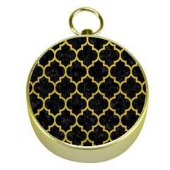 Tile1 Black Marble & Yellow Leather (r) Gold Compasses by trendistuff