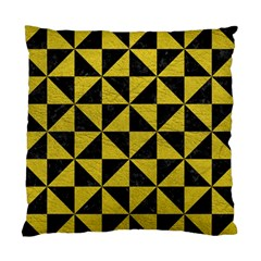 Triangle1 Black Marble & Yellow Leather Standard Cushion Case (two Sides) by trendistuff