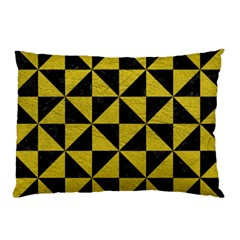 Triangle1 Black Marble & Yellow Leather Pillow Case by trendistuff