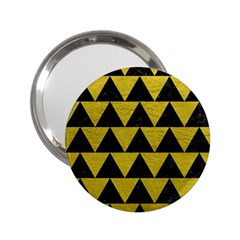 Triangle2 Black Marble & Yellow Leather 2 25  Handbag Mirrors by trendistuff