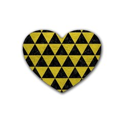 Triangle3 Black Marble & Yellow Leather Rubber Coaster (heart)  by trendistuff
