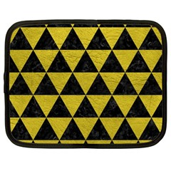 Triangle3 Black Marble & Yellow Leather Netbook Case (xl)  by trendistuff