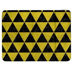 Triangle3 Black Marble & Yellow Leather Samsung Galaxy Tab 7  P1000 Flip Case by trendistuff