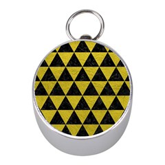 Triangle3 Black Marble & Yellow Leather Mini Silver Compasses by trendistuff