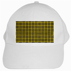 Woven1 Black Marble & Yellow Leather White Cap