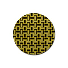 Woven1 Black Marble & Yellow Leather Rubber Round Coaster (4 Pack)  by trendistuff