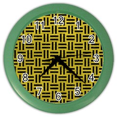 Woven1 Black Marble & Yellow Leather Color Wall Clocks by trendistuff
