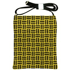 Woven1 Black Marble & Yellow Leather Shoulder Sling Bags by trendistuff