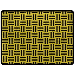 Woven1 Black Marble & Yellow Leather Fleece Blanket (large)  by trendistuff