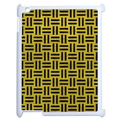 Woven1 Black Marble & Yellow Leather Apple Ipad 2 Case (white) by trendistuff