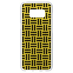 Woven1 Black Marble & Yellow Leather Samsung Galaxy S8 White Seamless Case by trendistuff
