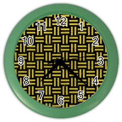Woven1 Black Marble & Yellow Leather (r) Color Wall Clocks by trendistuff
