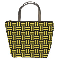 Woven1 Black Marble & Yellow Leather (r) Bucket Bags by trendistuff