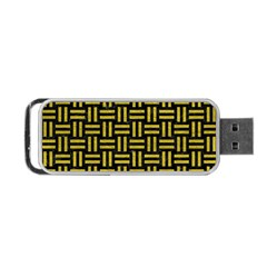 Woven1 Black Marble & Yellow Leather (r) Portable Usb Flash (one Side) by trendistuff