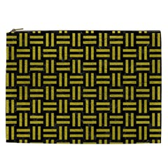 Woven1 Black Marble & Yellow Leather (r) Cosmetic Bag (xxl)  by trendistuff