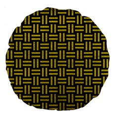 Woven1 Black Marble & Yellow Leather (r) Large 18  Premium Flano Round Cushions by trendistuff