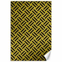 Woven2 Black Marble & Yellow Leather Canvas 12  X 18   by trendistuff