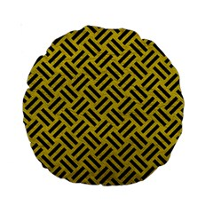 Woven2 Black Marble & Yellow Leather Standard 15  Premium Round Cushions by trendistuff